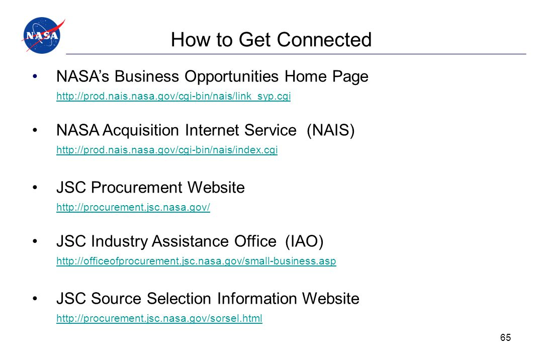 How to Get Connected NASA's Business Opportunities Home Page