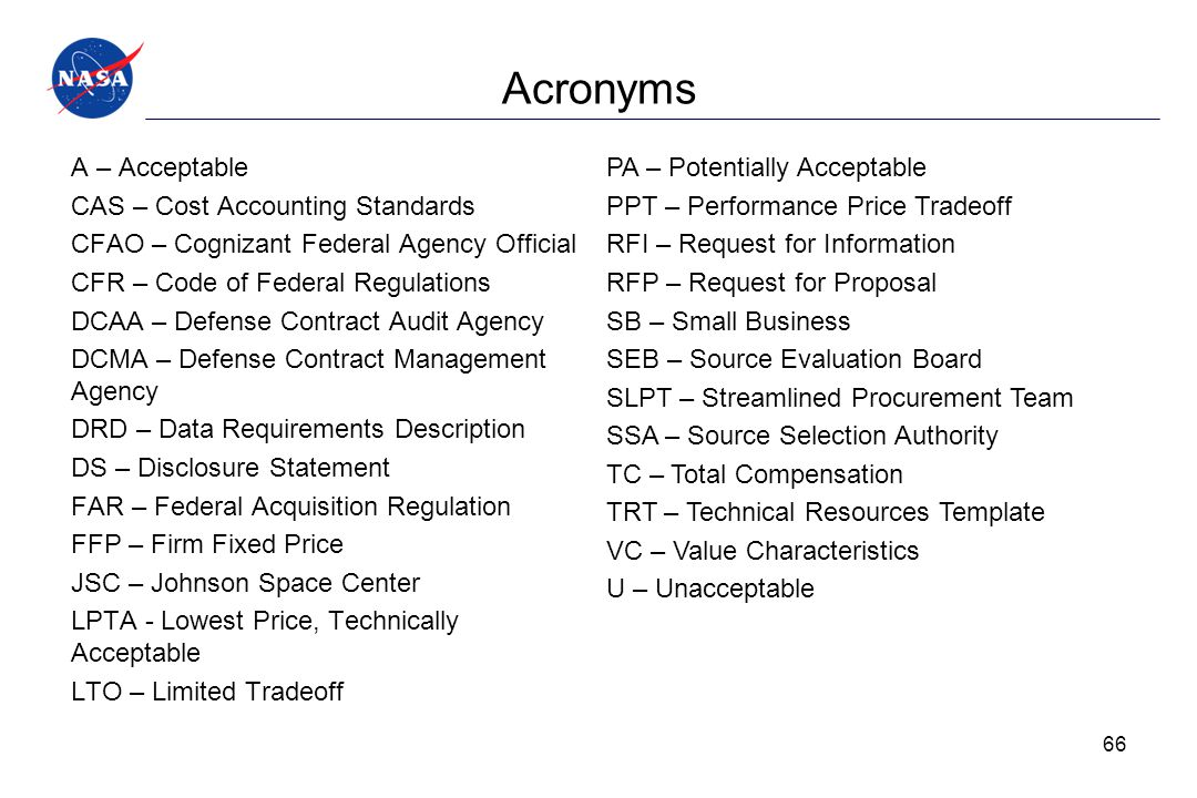 Acronyms A – Acceptable CAS – Cost Accounting Standards