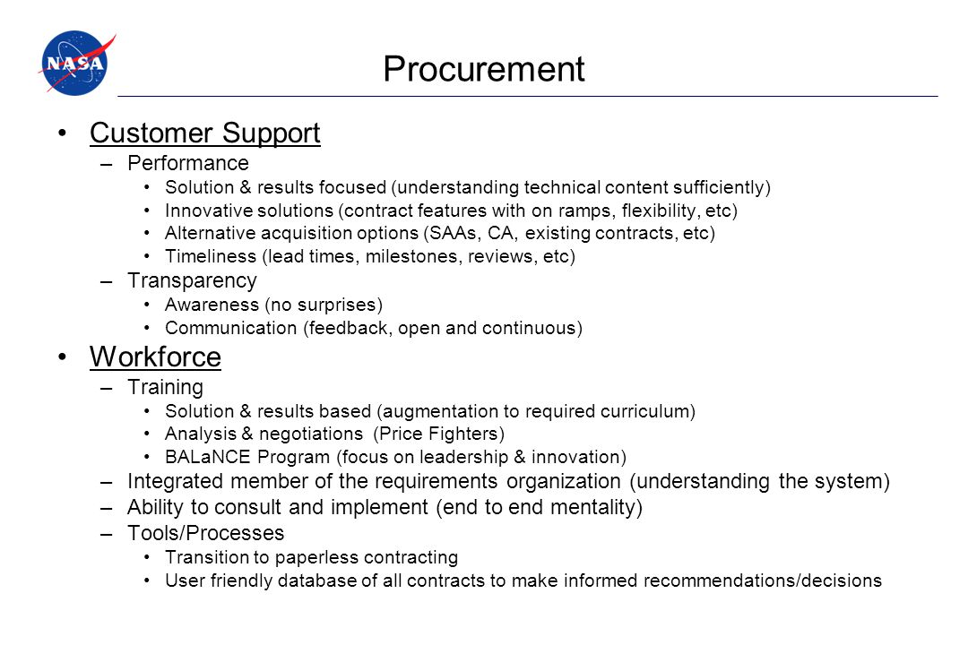 Procurement Customer Support Workforce Performance Transparency