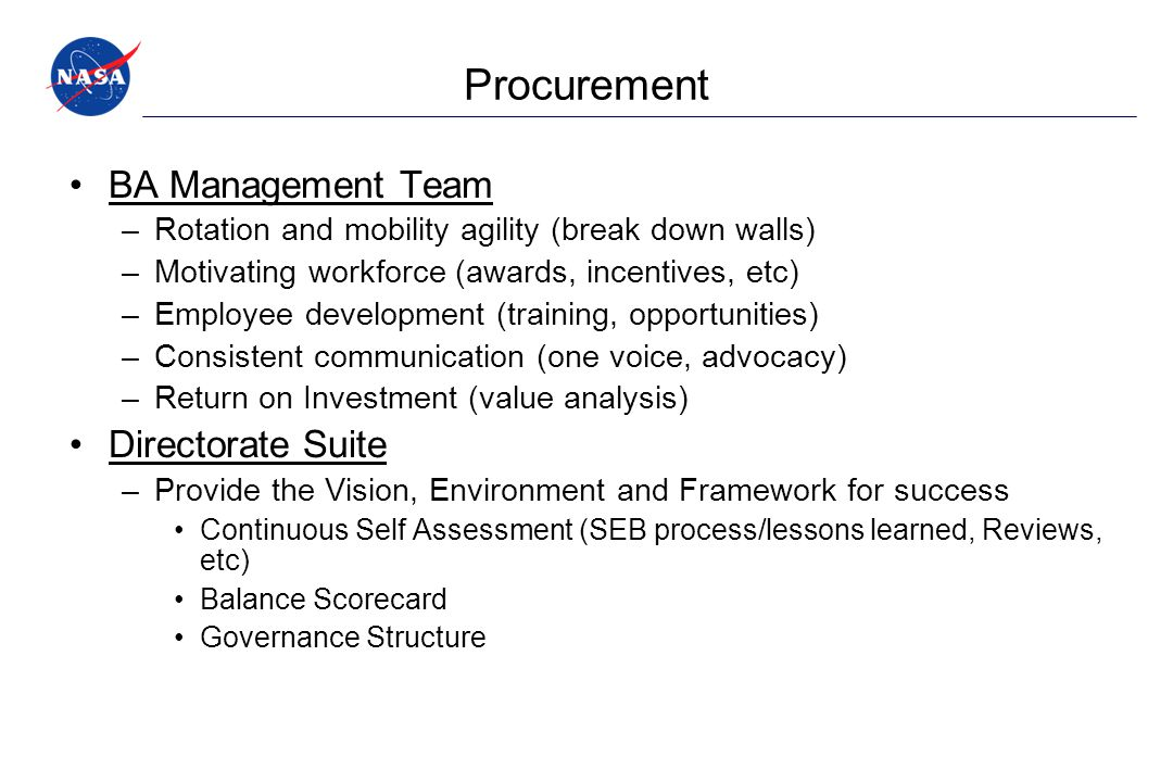 Procurement BA Management Team Directorate Suite