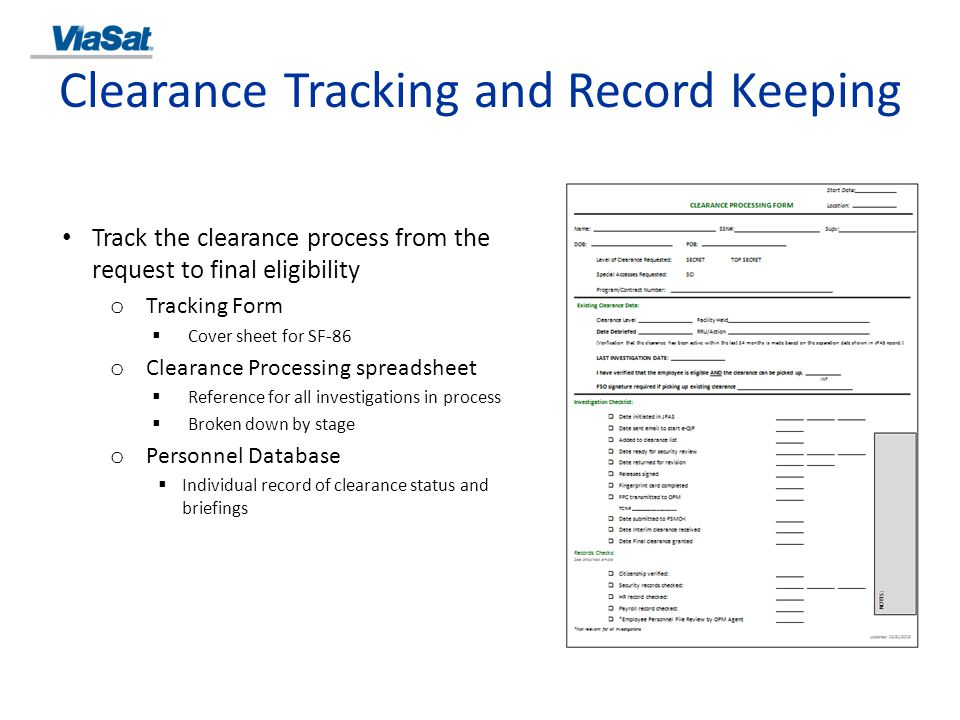 Clearance Tracking and Record Keeping
