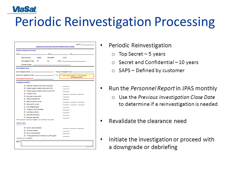 Periodic Reinvestigation Processing