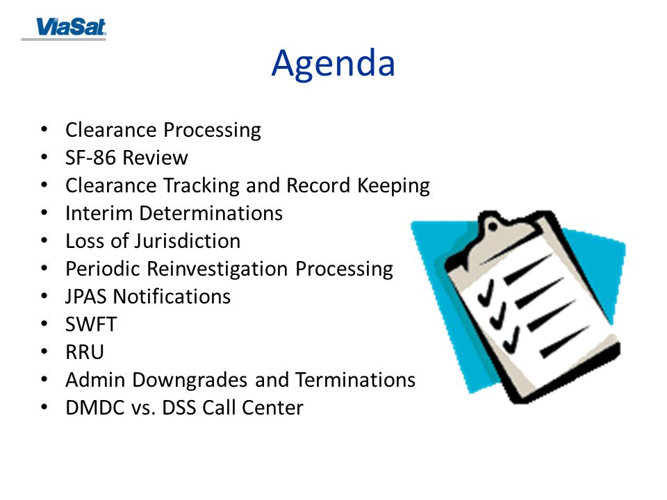 Agenda Clearance Processing SF-86 Review