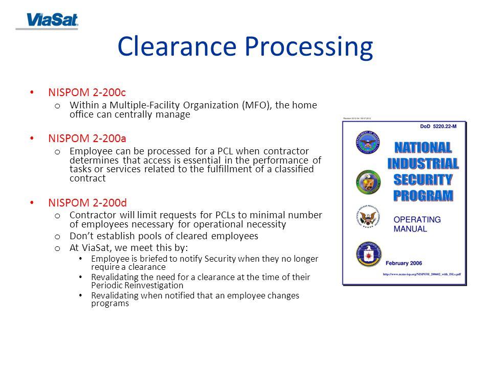 Clearance Processing NISPOM 2-200c NISPOM 2-200a NISPOM 2-200d