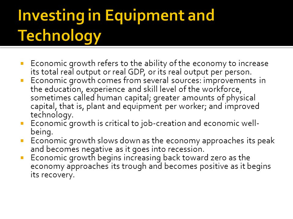 Investing in Equipment and Technology