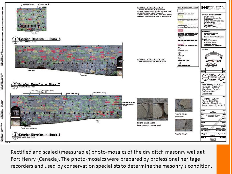 Rectified and scaled (measurable) photo-mosaics of the dry ditch masonry walls at Fort Henry (Canada).