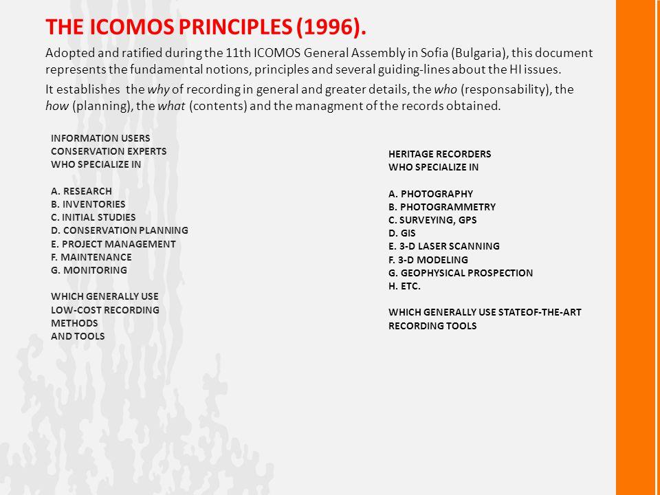 THE ICOMOS PRINCIPLES (1996).