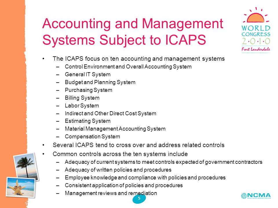 Accounting and Management Systems Subject to ICAPS