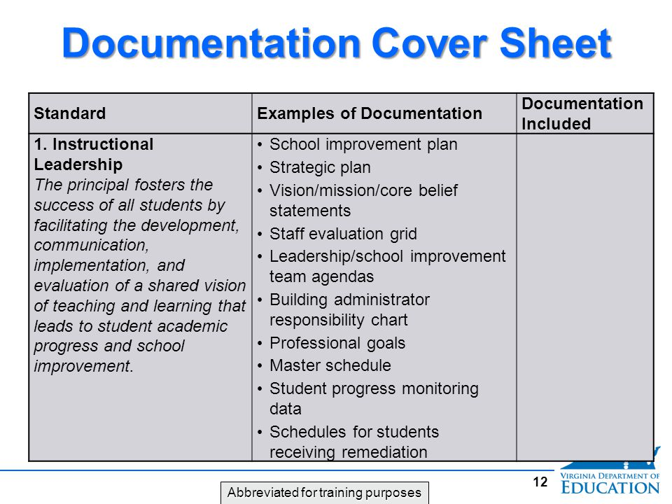 Documentation Cover Sheet