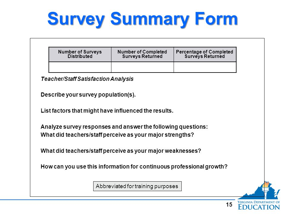 Survey Summary Form