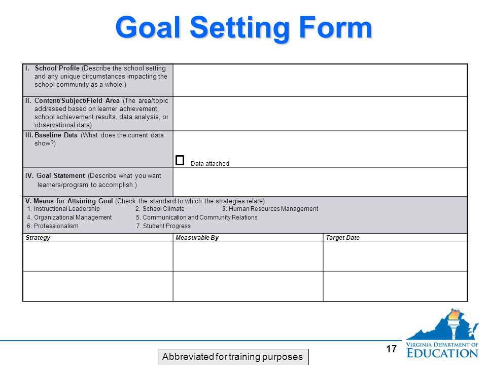 Goal Setting Form Abbreviated for training purposes