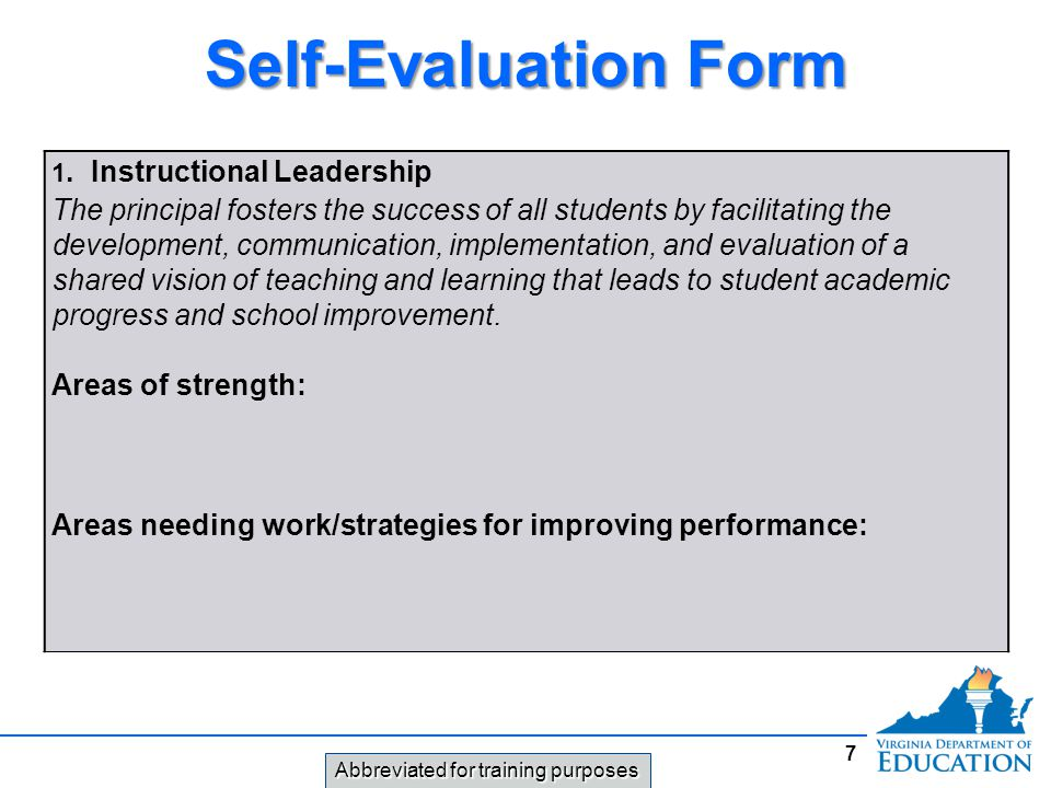 Self-Evaluation Form 1. Instructional Leadership.