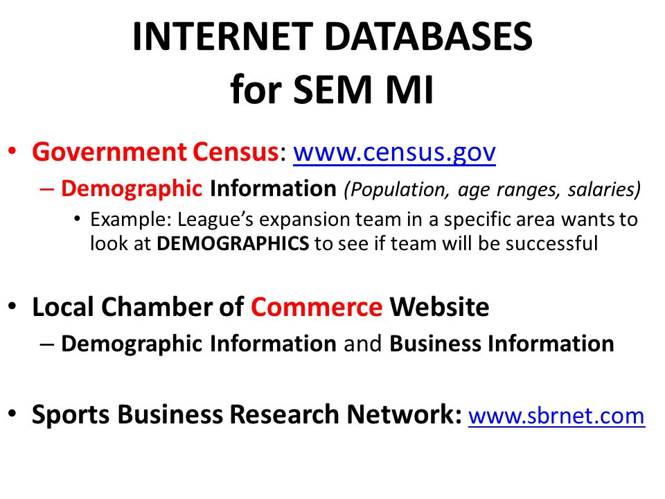 INTERNET DATABASES for SEM MI