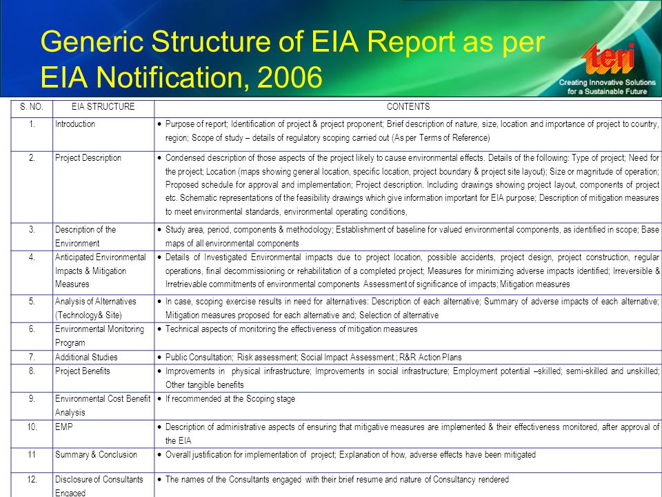 Generic Structure of EIA Report as per EIA Notification, 2006