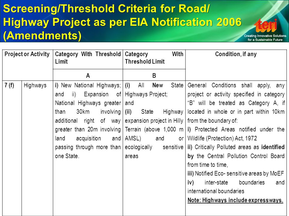 Screening/Threshold Criteria for Road/ Highway Project as per EIA Notification 2006 (Amendments)