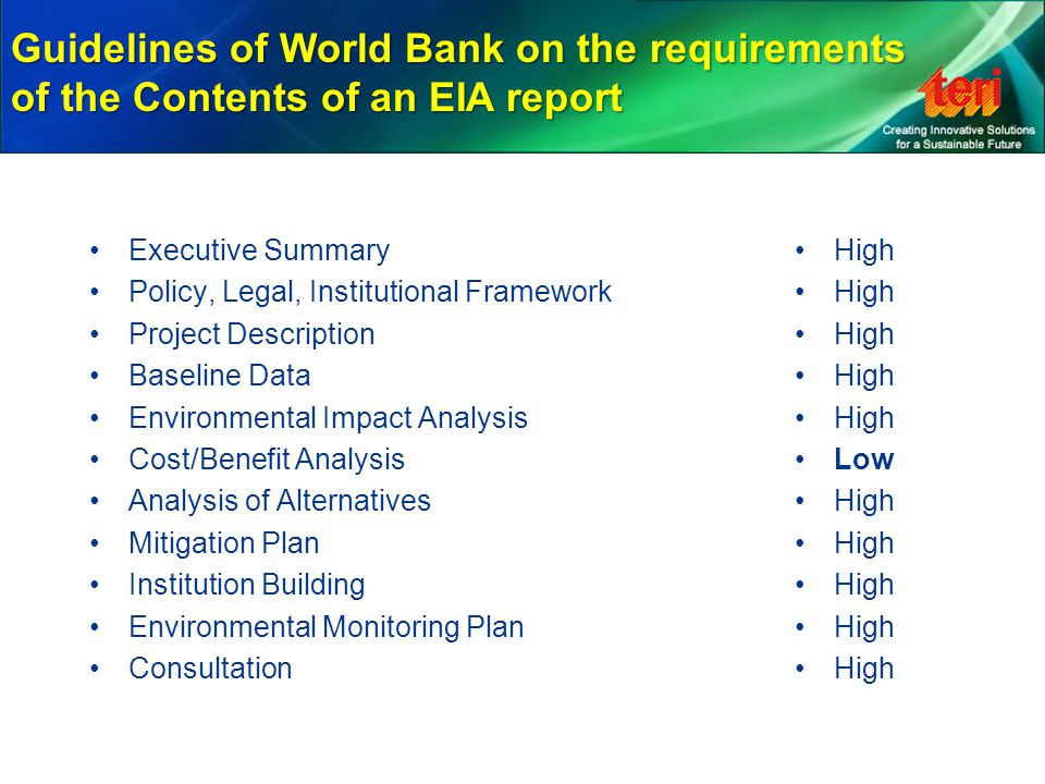 Guidelines of World Bank on the requirements of the Contents of an EIA report