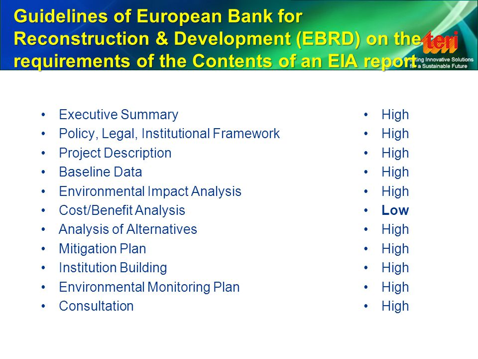Guidelines of European Bank for Reconstruction & Development (EBRD) on the requirements of the Contents of an EIA report