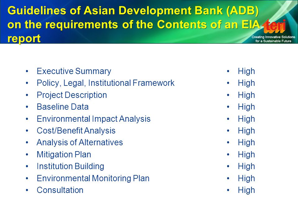 Guidelines of Asian Development Bank (ADB) on the requirements of the Contents of an EIA report