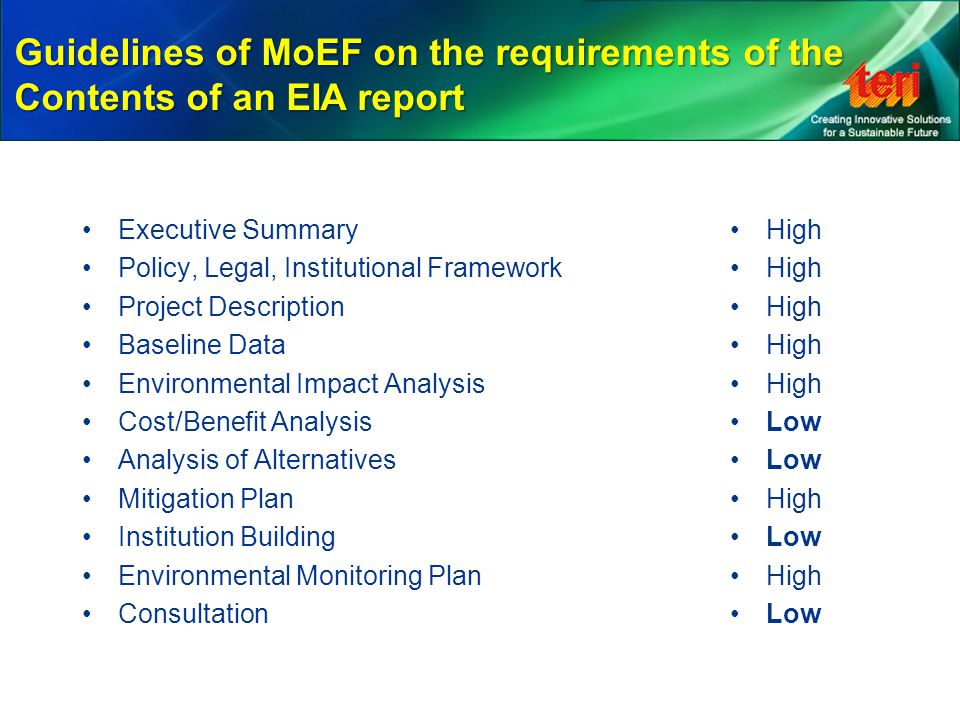 Guidelines of MoEF on the requirements of the Contents of an EIA report