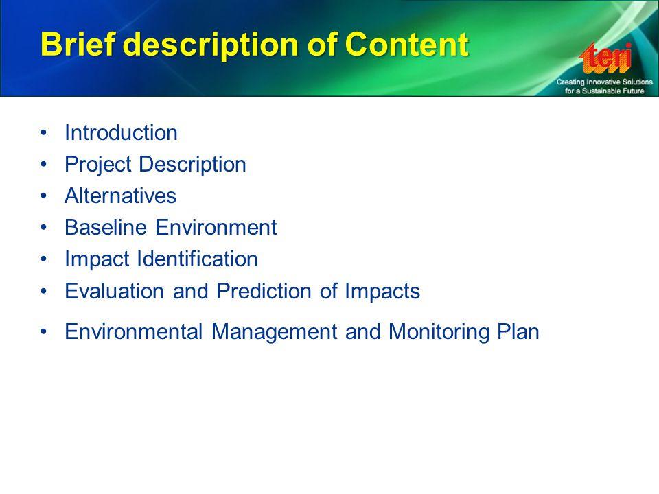 Brief description of Content