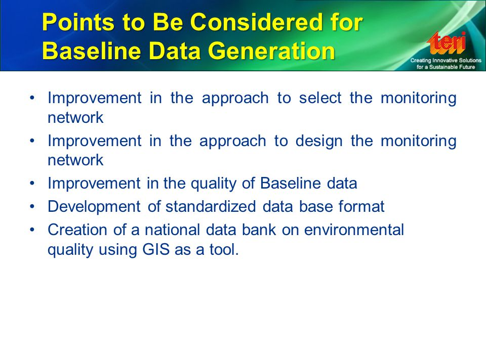 Points to Be Considered for Baseline Data Generation