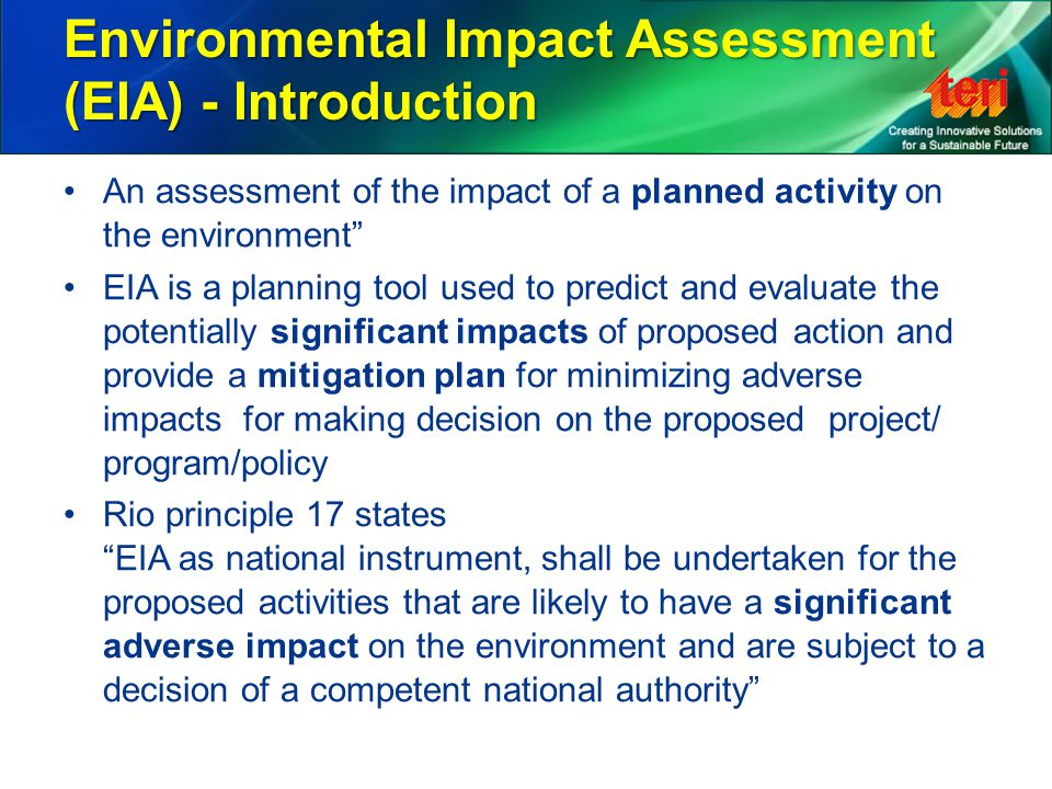Environmental Impact Assessment (EIA) - Introduction