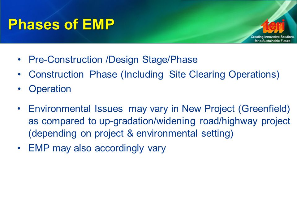 Phases of EMP Pre-Construction /Design Stage/Phase