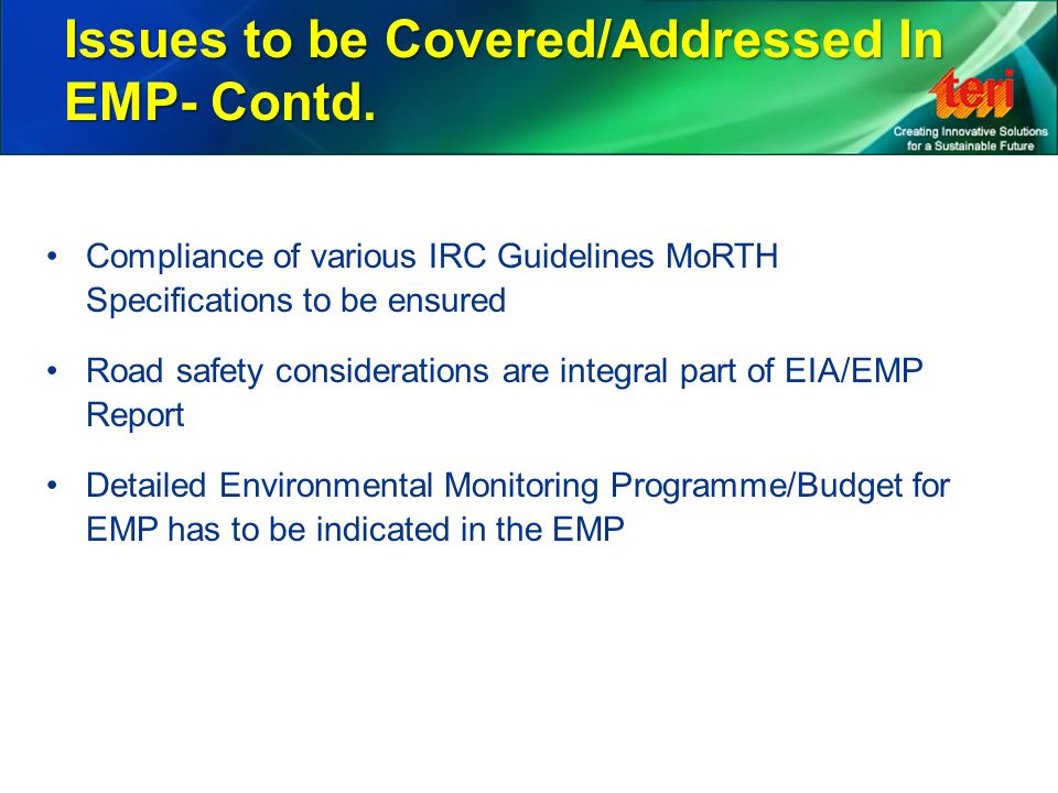 Issues to be Covered/Addressed In EMP- Contd.