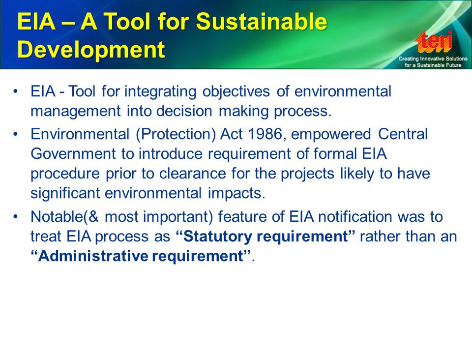 EIA – A Tool for Sustainable Development
