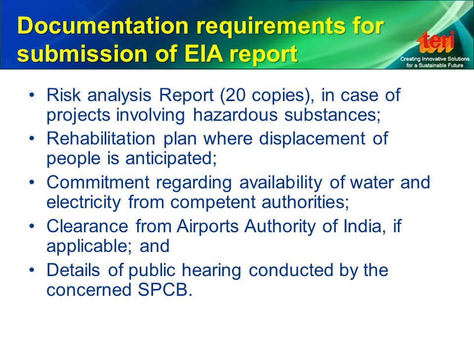 Documentation requirements for submission of EIA report