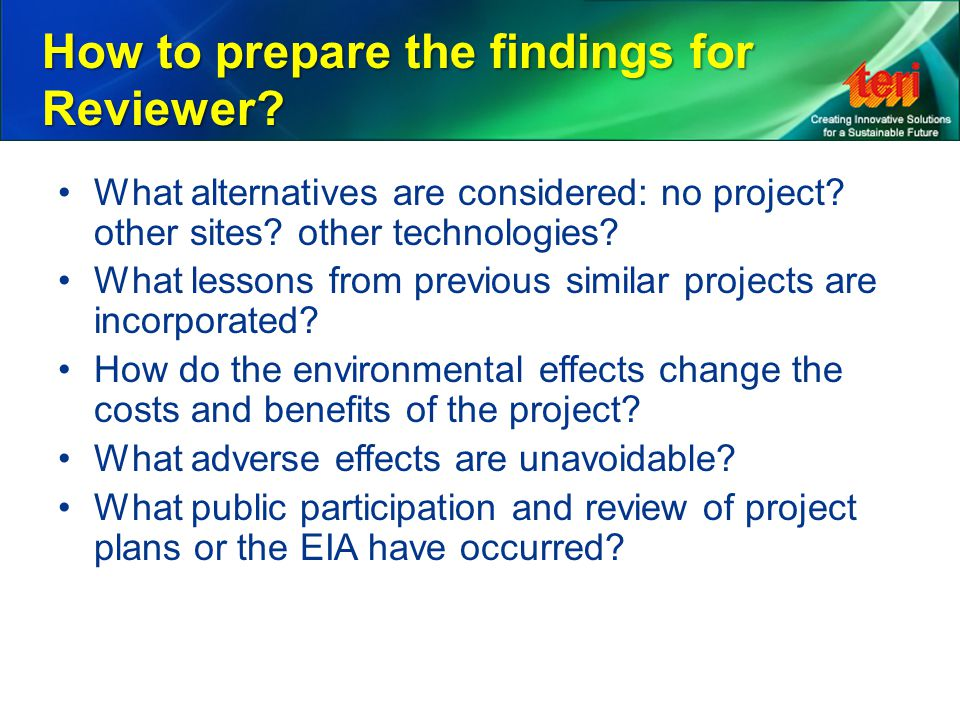 How to prepare the findings for Reviewer