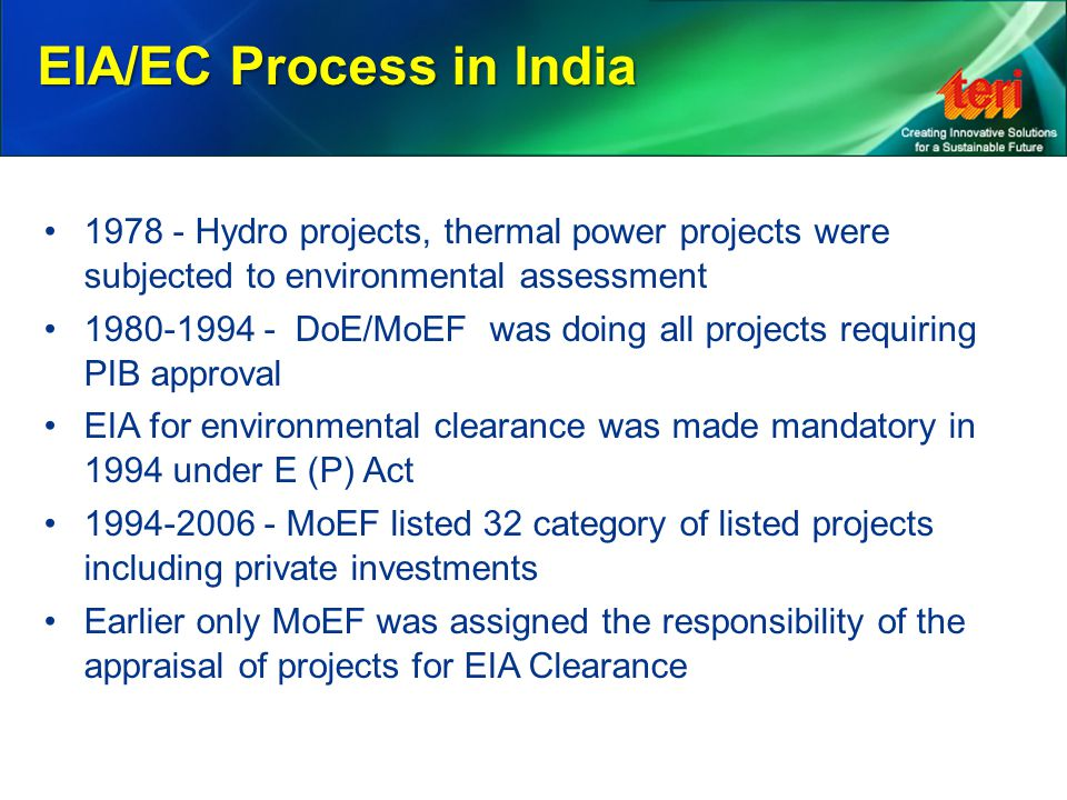 EIA/EC Process in India