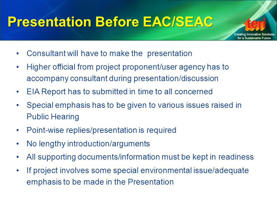 Presentation Before EAC/SEAC