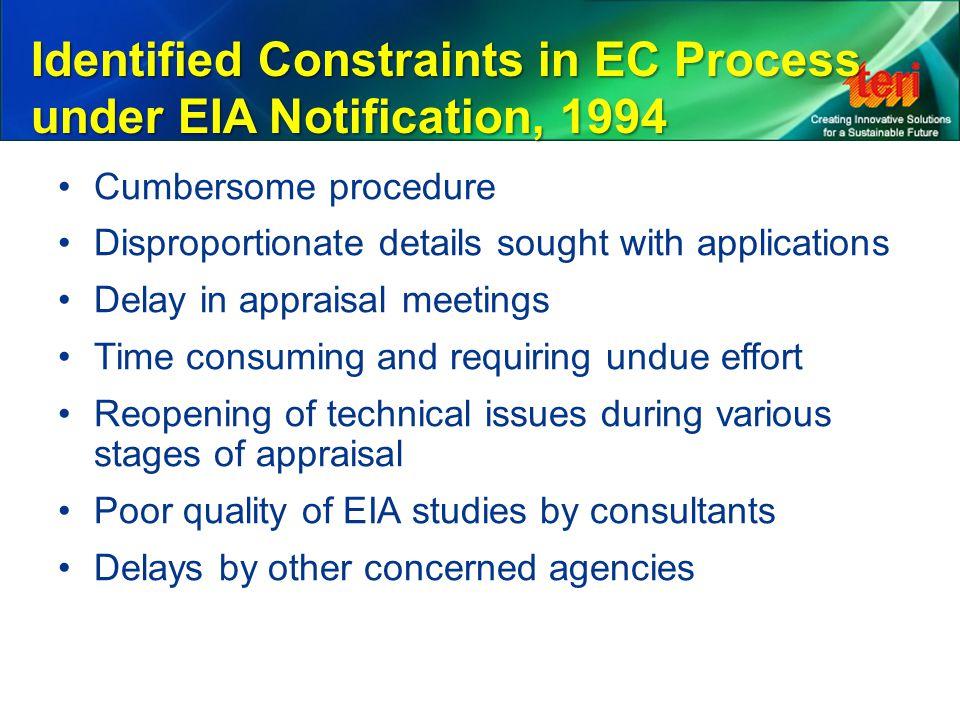 Identified Constraints in EC Process under EIA Notification, 1994