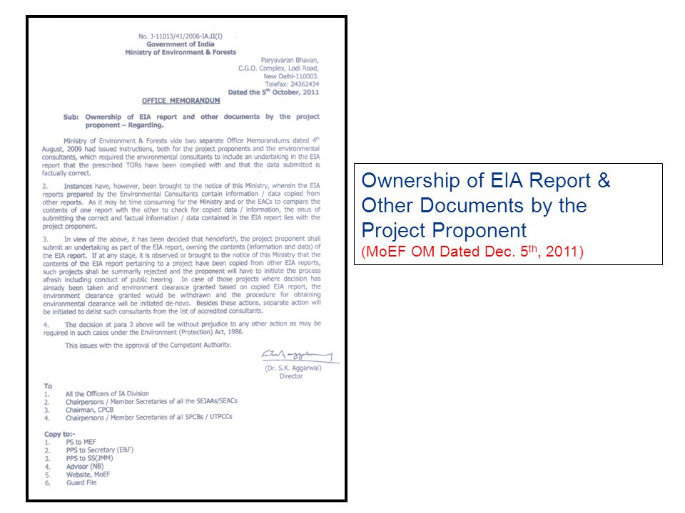 Ownership of EIA Report & Other Documents by the Project Proponent (MoEF OM Dated Dec. 5th, 2011)