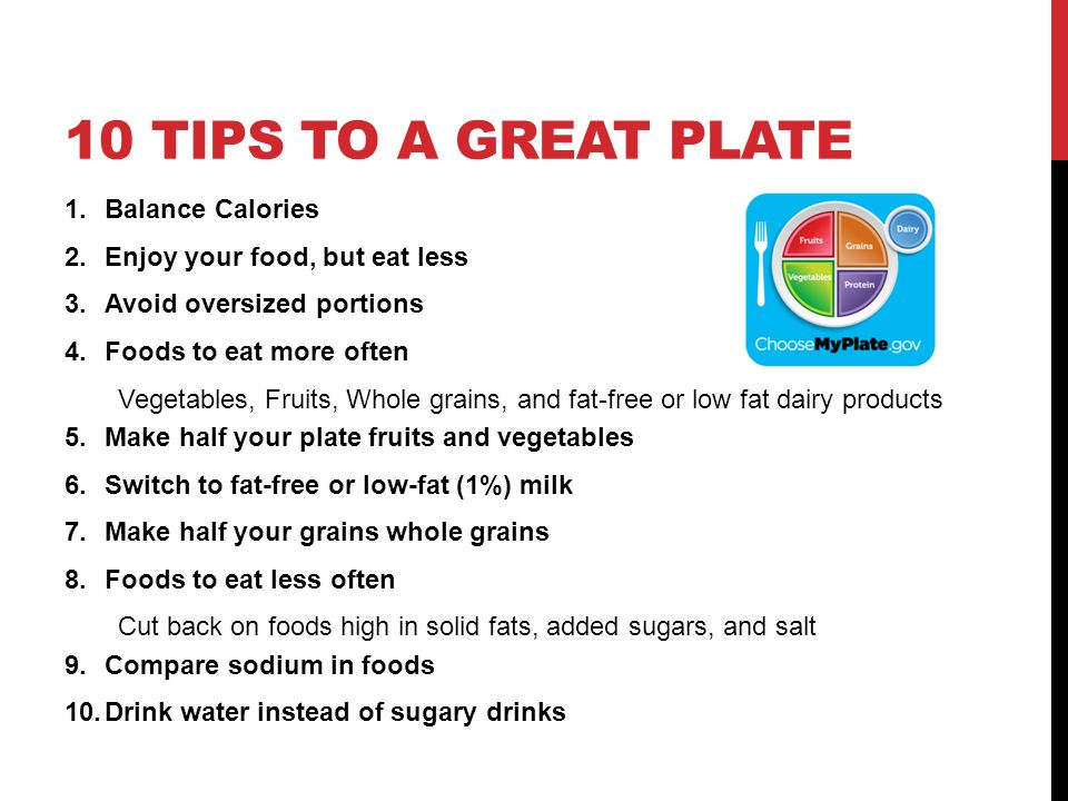 10 tips to a great plate Balance Calories