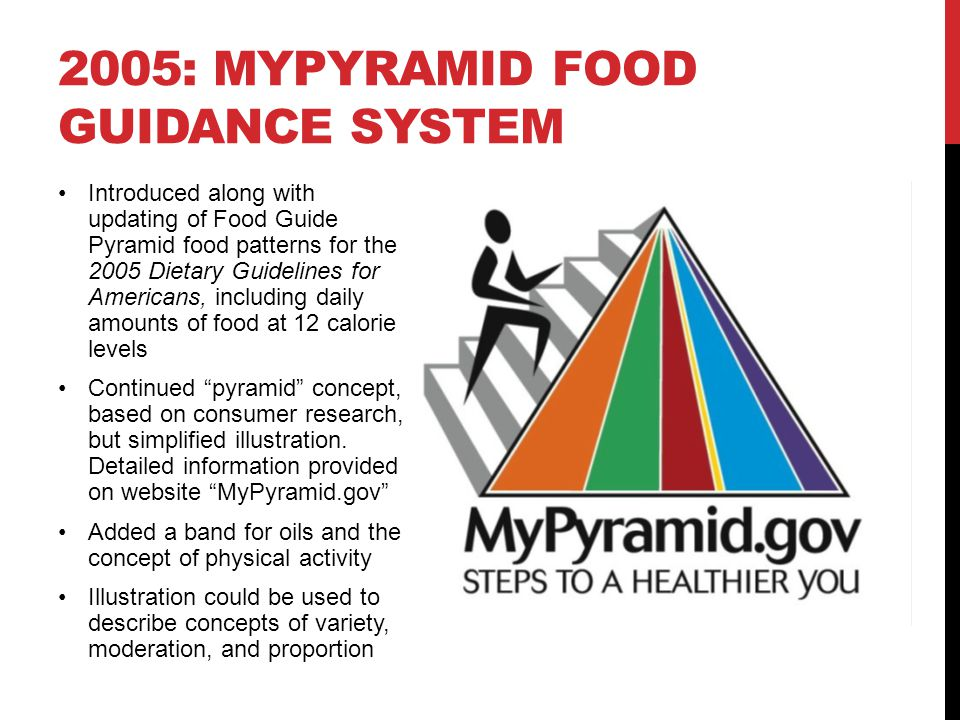 2005: MyPyramid Food Guidance System