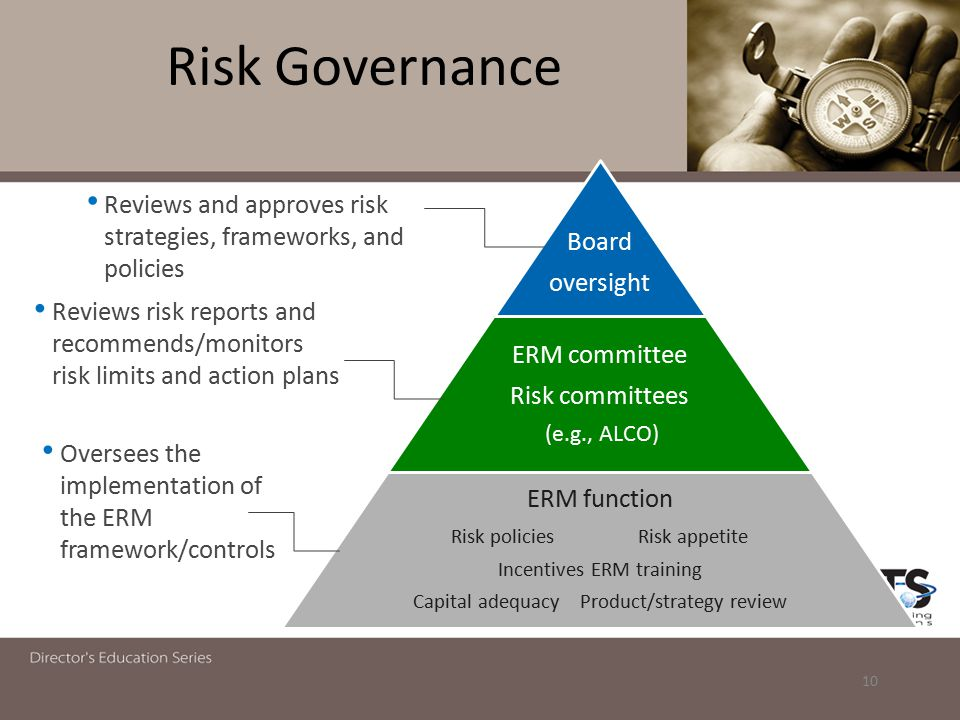 Risk Governance ERM function ERM committee Risk committ ees Board