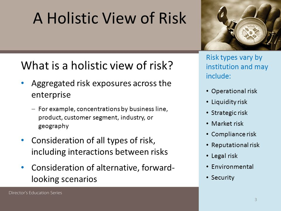 A Holistic View of Risk What is a holistic view of risk