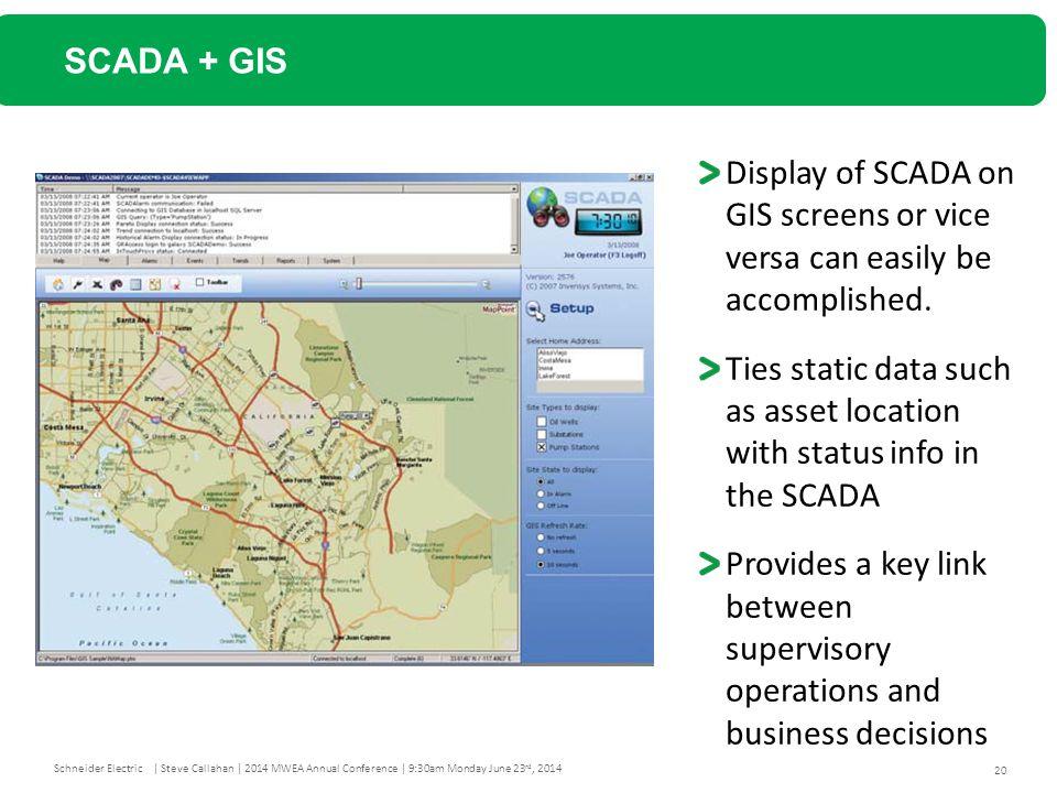 SCADA + GIS Display of SCADA on GIS screens or vice versa can easily be accomplished.