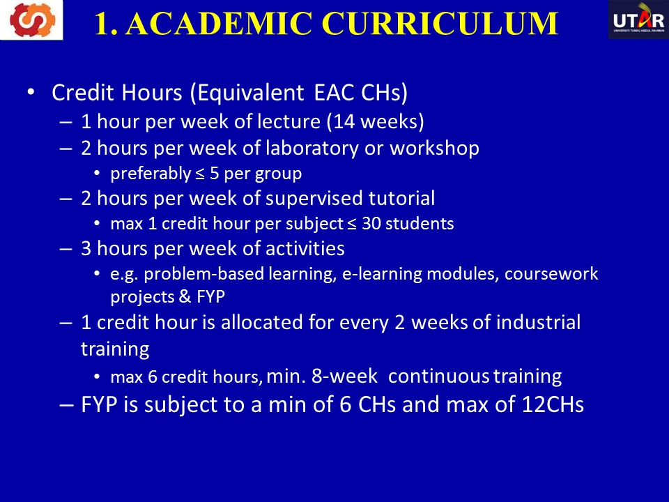 1. ACADEMIC CURRICULUM Credit Hours (Equivalent EAC CHs)
