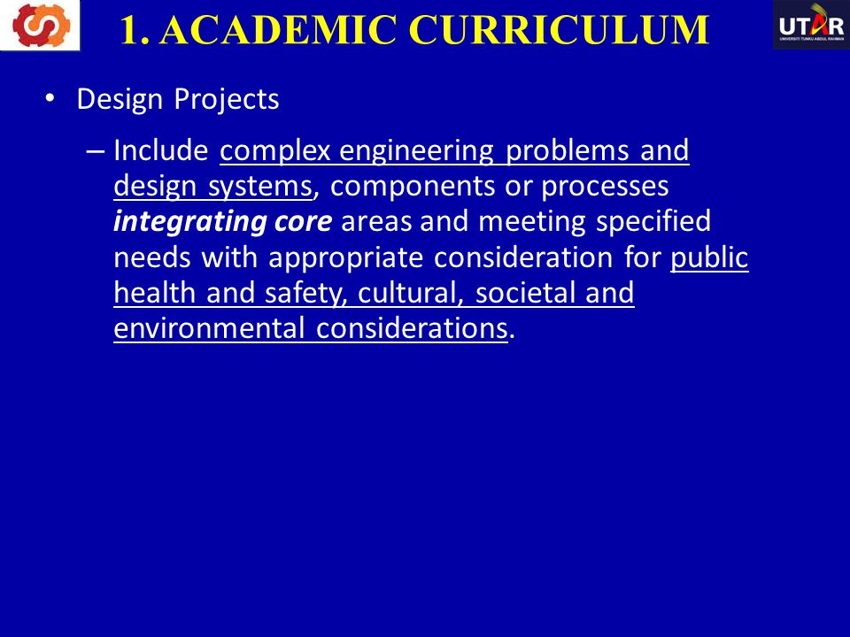 1. ACADEMIC CURRICULUM Design Projects