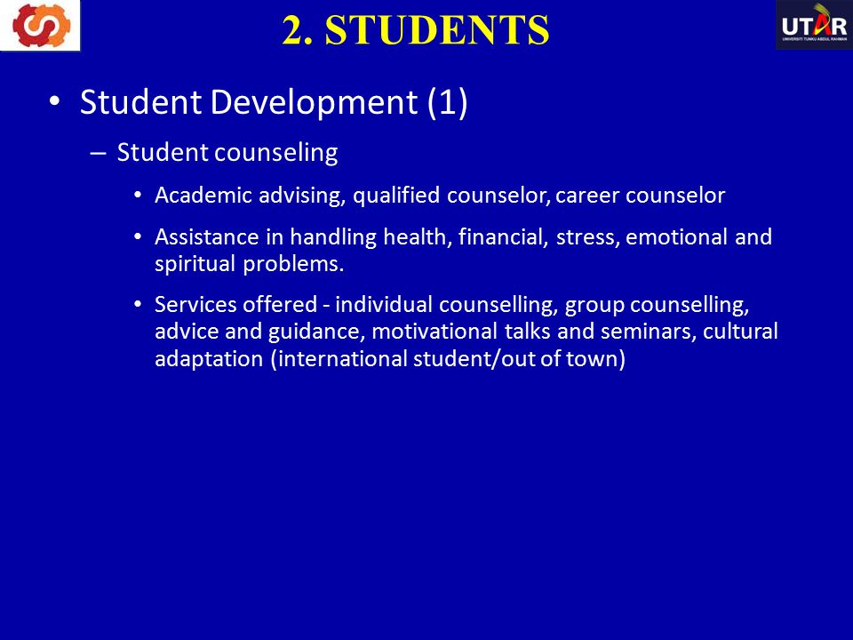 2. STUDENTS Student Development (1) Student counseling