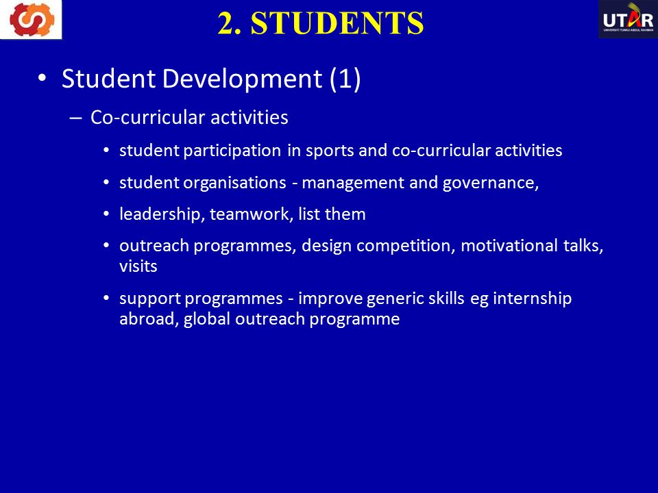 2. STUDENTS Student Development (1) Co-curricular activities