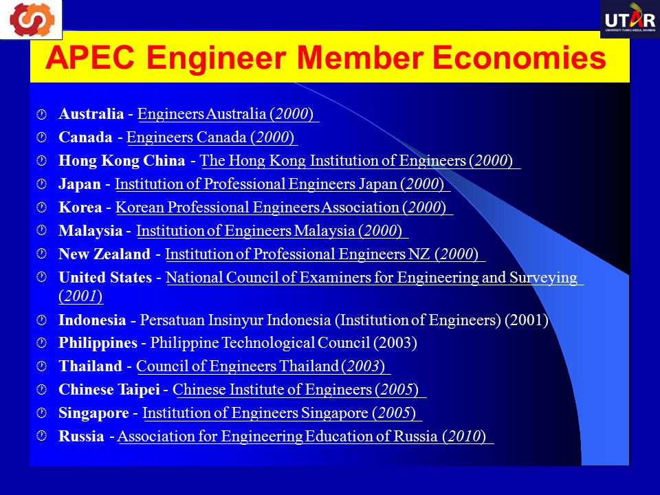 APEC Engineer Member Economies