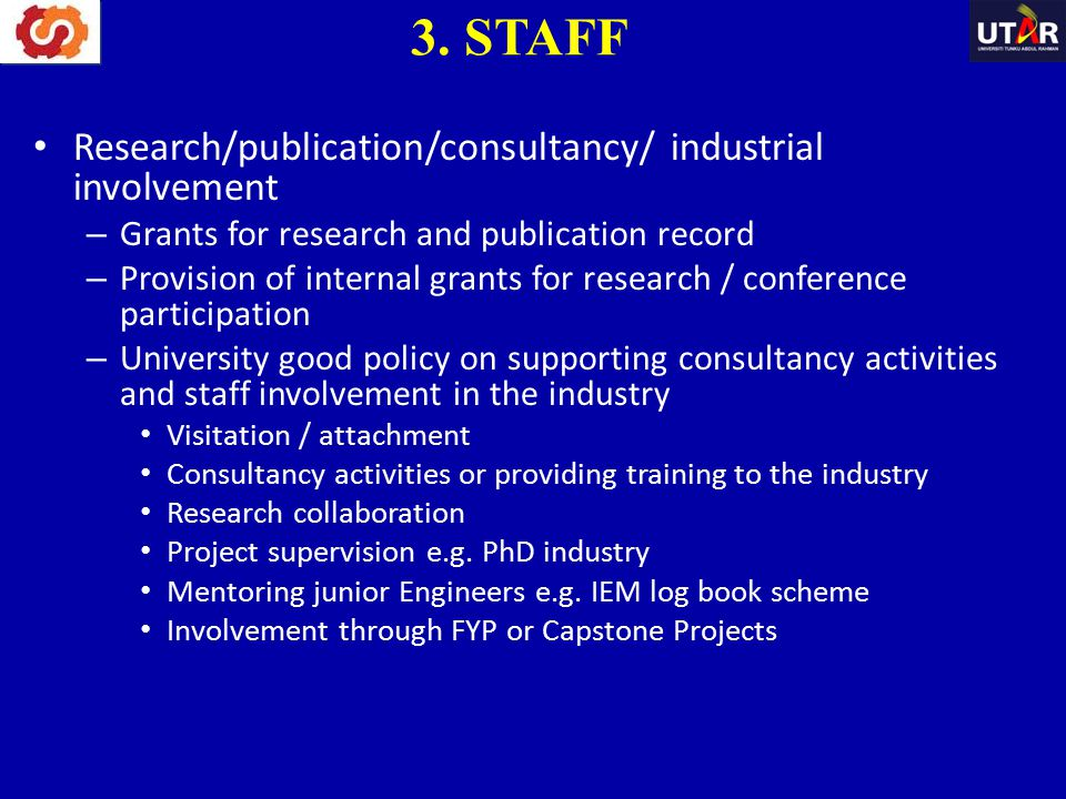 3. STAFF Research/publication/consultancy/ industrial involvement