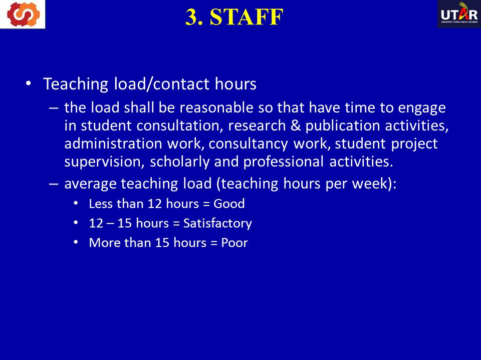 3. STAFF Teaching load/contact hours