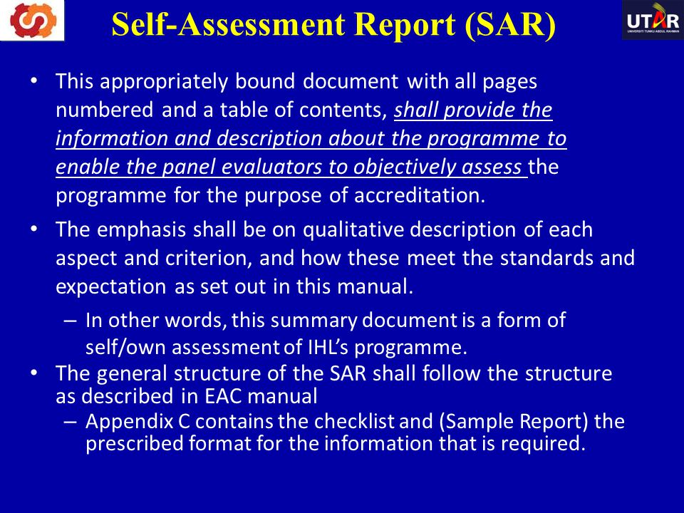 Self-Assessment Report (SAR)