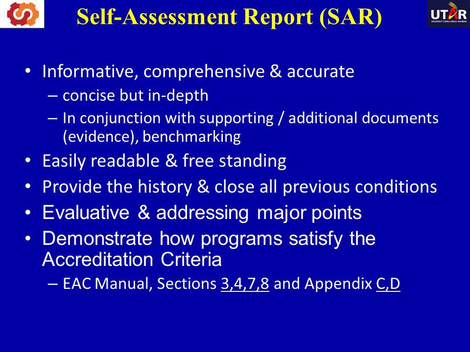 Self-Assessment Report (SAR)