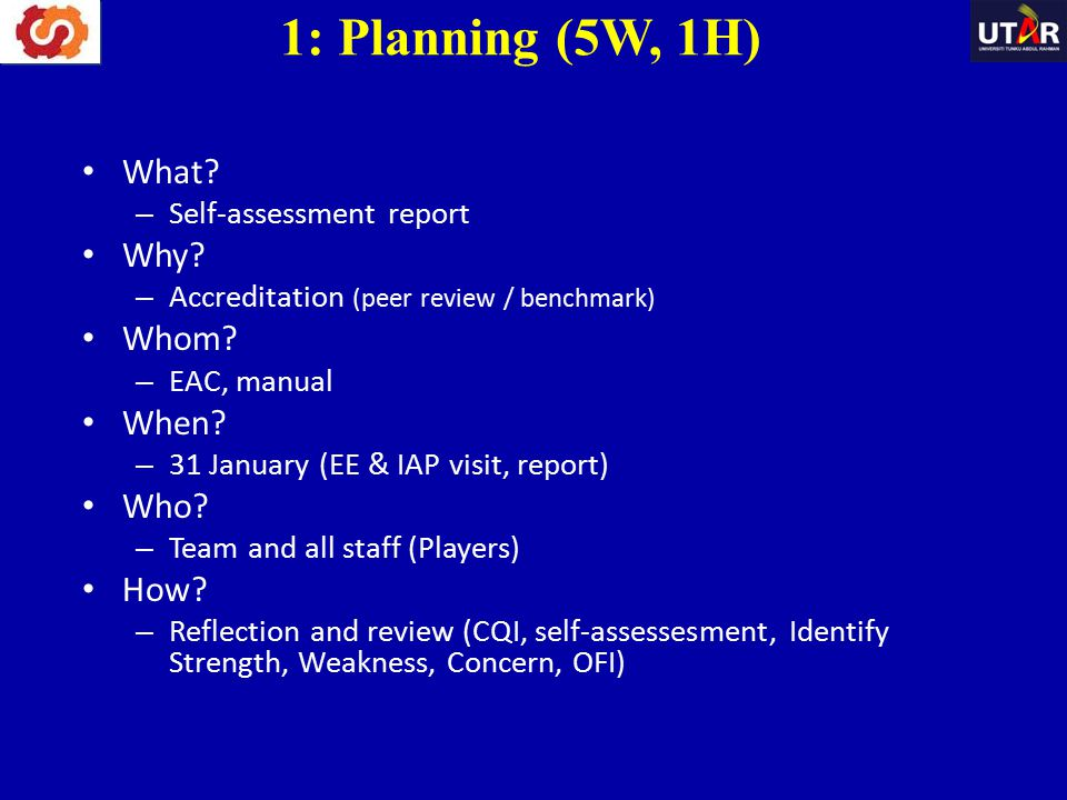1: Planning (5W, 1H) What Why Whom When Who How